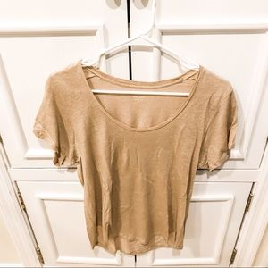 J. Crew gold linen T shirt
